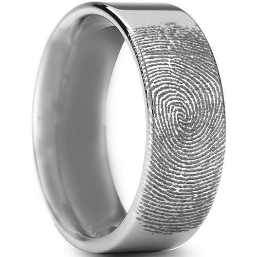 COI Tungsten Carbide Custom Fingerprint Pipe Cut Ring-TG3234A