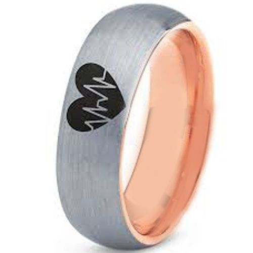 *COI Tungsten Carbide Rose Silver Heartbeat & Heart Ring - 3496