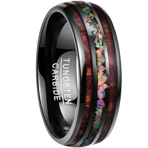 COI Black Tungsten Carbide Crushed Opal & Wood Dome Court Ring-TG3498