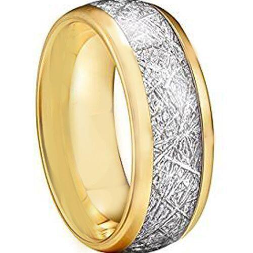 COI Gold Tone Titanium Meteorite Dome Court Ring - JT3873