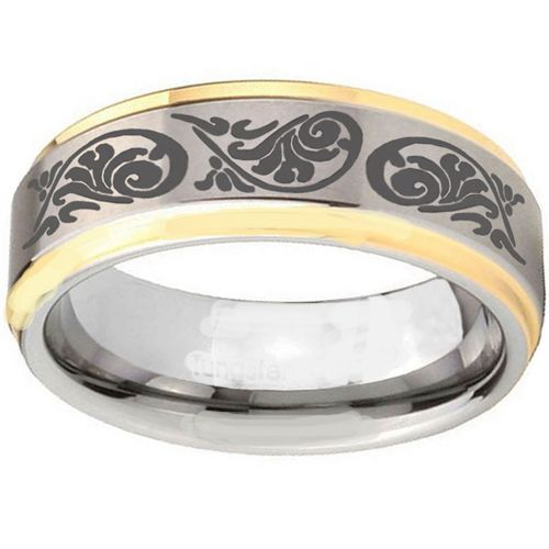 COI Tungsten Carbide Gold Tone Silver Tribal Pattern Ring-TG3967
