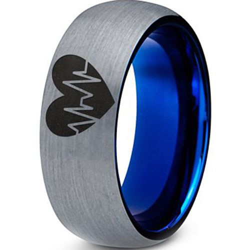 *COI Tungsten Carbide Blue Silver Heartbeat & Heart Ring-3977