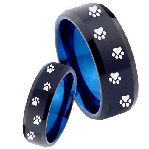 COI Tungsten Carbide Black Blue Paws Track Ring - 4480