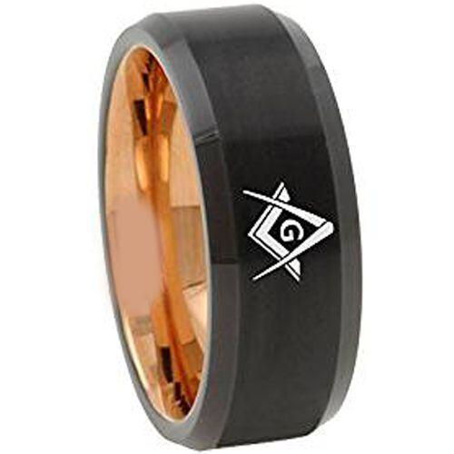 **COI Titanium Black Rose Masonic Beveled Edges Ring - 4668