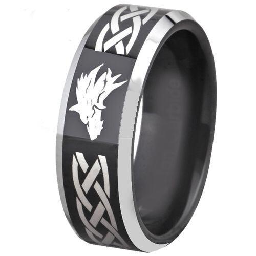 COI Titanium Black Silver Wolf Celtic Beveled Edges Ring - 4677