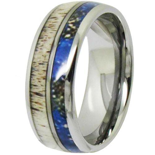 COI Titanium Deer Antler & Blue Wood Dome Court Ring - JT3981