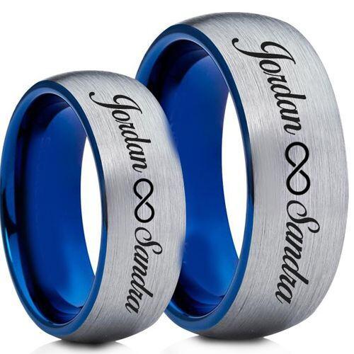 COI Tungsten Carbide Blus Silver Custom Engraving Ring-TG5004