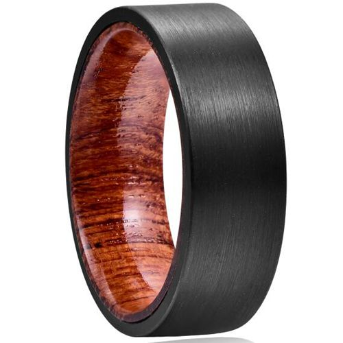 COI Black Tungsten Carbide Ring With Wood-TG5041