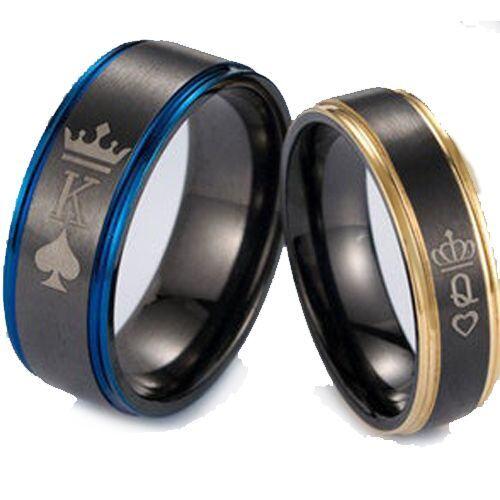 COI Tungsten Carbide Black Blue/Rose King Queen Crown Ring-5053