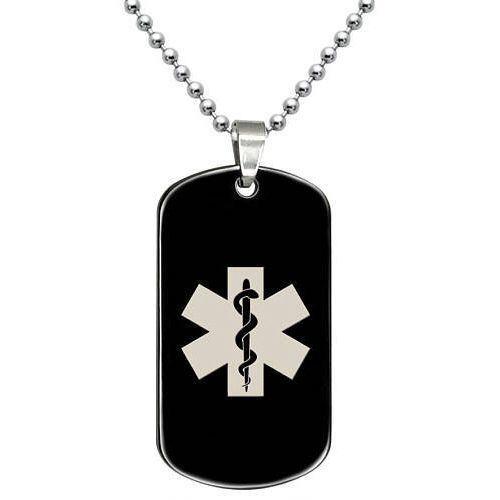 COI Black Tungsten Carbide Medic Alert Dog Tag Pendant-TG5068