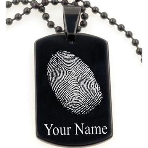 COI Black Tungsten Pendant With Custom Fingerprint-5070