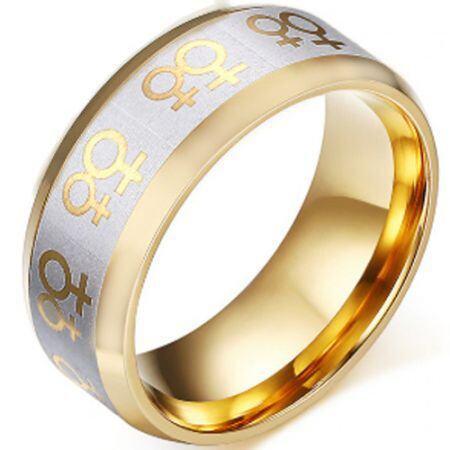 COI Tungsten Carbide Gold Tone Silver Gay Pride Ring-TG5250