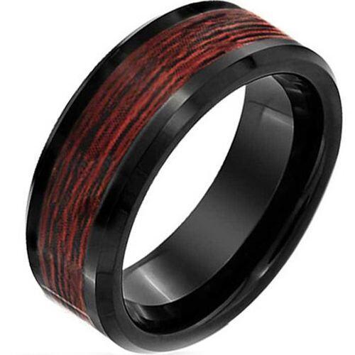 COI Black Titanium Wood Beveled Edges Ring - JT3836