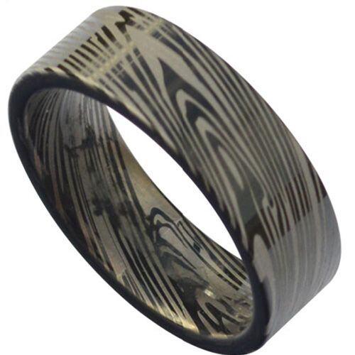 COI Titanium Black Silver Damascus Pipe Cut Flat Ring - JT3832