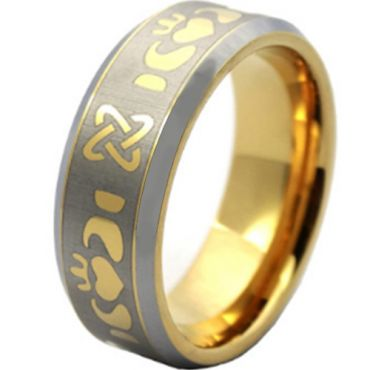 COI Tungsten Carbide Gold Tone Silver Mo Anam Cara Ring-TG003