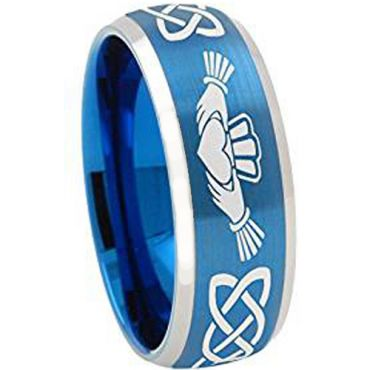 COI Tungsten Carbide Bule Silver Mo Anam Cara Celtic Ring - TG4334