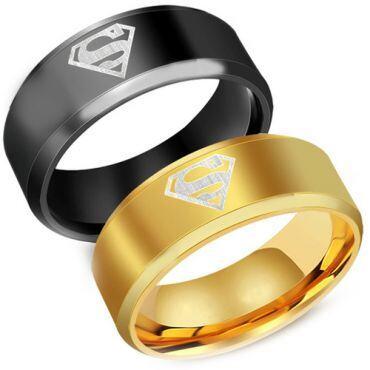 **COI Titanium Black/Gold Tone Superman Beveled Edges Ring-JT1159A
