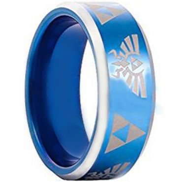 COI Tungsten Carbide Blue Silver Legend of Zelda Ring-TG3396AA