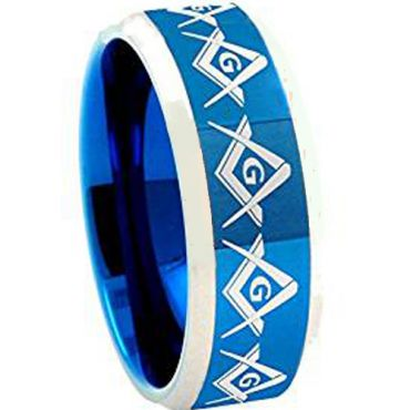 *COI Titanium Blue Silver Masonic Beveled Edges Ring-JT1201