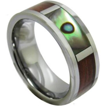 COI Tungsten Carbide Ring With Abalone Shell and Wood-TG1224