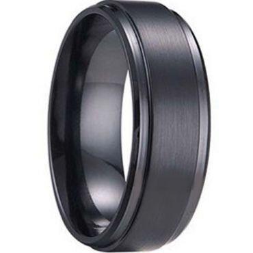 **COI Black Tungsten Carbide Polished Shiny Matt Step Edges Ring - TG1241
