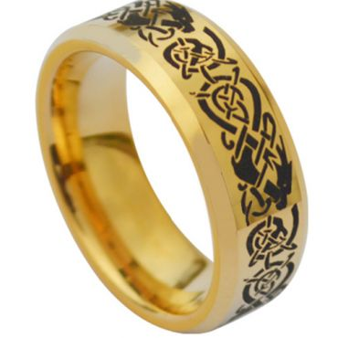 COI Gold Tone Titanium Dragon Beveled Edges Ring - JT1253AA
