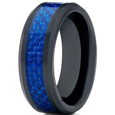 COI Black Titanium Carbon Fiber Beveled Edges Ring - 1266
