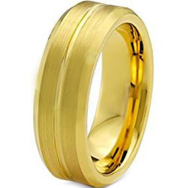 COI Gold Tone Tungsten Carbide Center Groove Ring - TG129AA