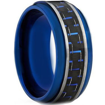 COI Tungsten Carbide Blue Silver Ring With Carbon Fiber - TG4012