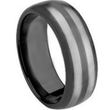 COI Black Tungsten Carbide Double Lines Dome Ring - TG1427