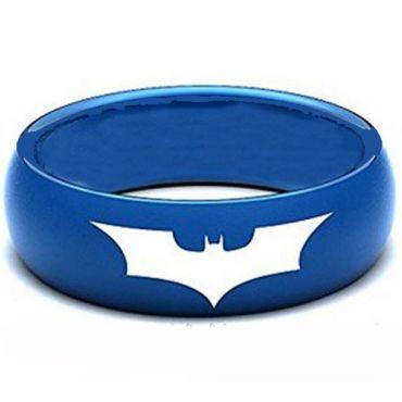 COI Blue Tungsten Carbide Batman Dome Court Ring - TG3805AA