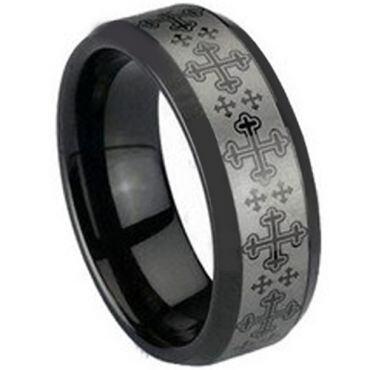COI Black Tungsten Carbide Cross Beveled Edges Ring - TG1492