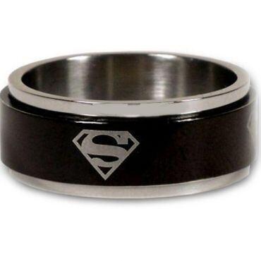 *COI Titanium Black Silver Superman Step Edges Ring-JT1493