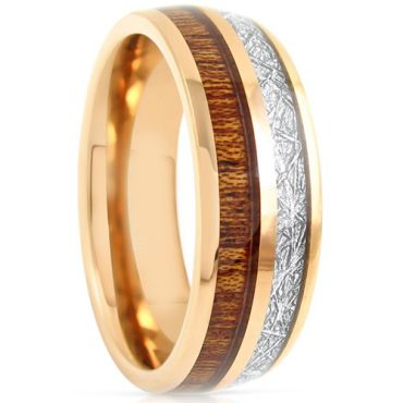 COI Gold Tone Titanium Meteorite & Wood Dome Court Ring-1551