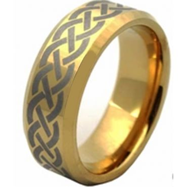 COI Gold Tone Tungsten Carbide Celtic Ring - TG4512