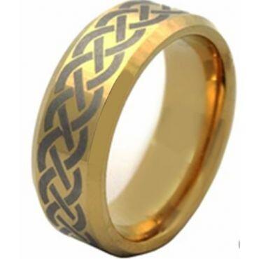 COI Gold Tone Titanium Celtic Beveled Edges Ring - JT1552AA