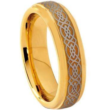 COI Gold Tone Tungsten Carbide Celtic Step Edges Ring-1556