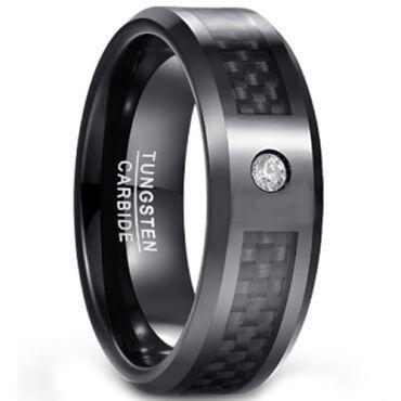 COI Black Tungsten Carbide Carbon Fiber Zirconia Ring-TG1567CC