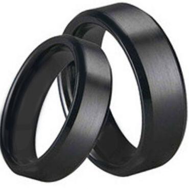 *COI Black Titanium Beveled Edges Ring - JT1536