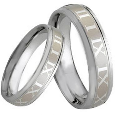 COI Tungsten Carbide Ring With Roman Numerals - TG164