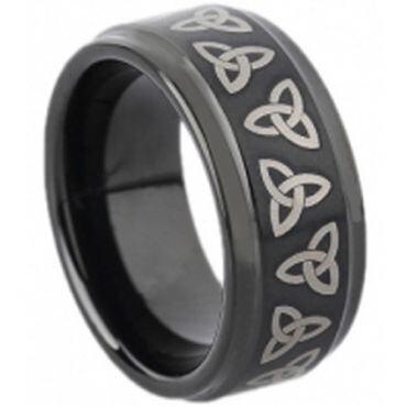 COI Black Tungsten Carbide Trinity Knot Ring - TG1673