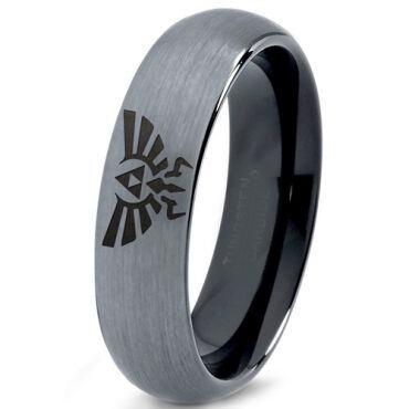 COI Tungsten Carbide Black Silver Legend of Zelda Ring-167