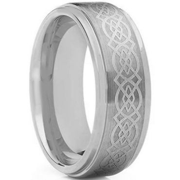 *COI Tungsten Carbide Celtic Step Edges Ring - TG170
