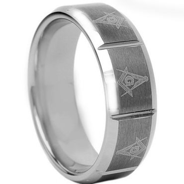 *COI Tungsten Carbide Vertical Groove Masonic Ring - 1760