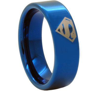 COI Blue Tungsten Carbide SuperMan Pipe Cut Ring - TG1768CC