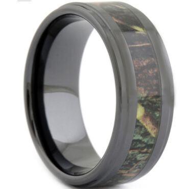 COI Black Tungsten Carbide Camo Step Edges Ring-1807