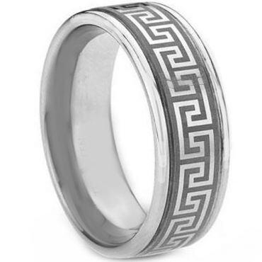 COI Tungsten Carbide Greek Key Step Edges Ring-TG1831