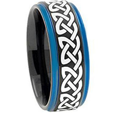 COI Tungsten Carbide Black Blue Celtic Step Edges Ring - TG1840A