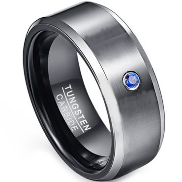 COI Tungsten Carbide Black Silver Ring With Created Blue Sapphire - TG1853