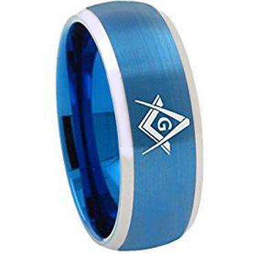 *COI Titanium Blue Silver Masonic Beveled Edges Ring - 1867